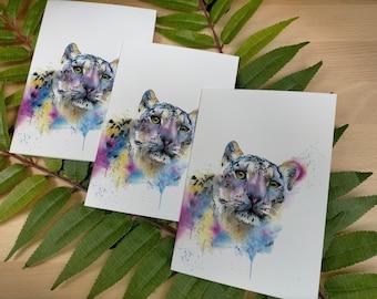 Snow Leopard Wild Animal Card | Big Cat Birthday Card | Animal Christmas Card | Animal Greetings Card | Animal Painting | Cat Card