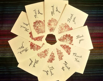 Thank you cards: red flowers