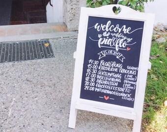 Handgeschriebene Holztafel l Hochzeit l Chalkboard l Programm Schilder l Event l individuell angepasst