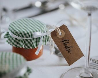 Handgeschriebene Tischkarten l Hochzeit l Wedding l Kraftpapier l Anhänger l personalisiert l individuell angepasst