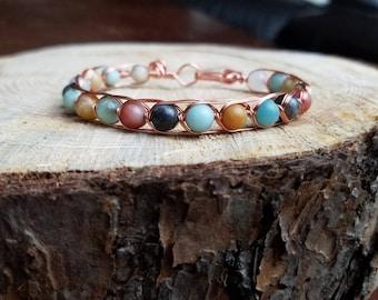 Amazonite Wire Wrapped Bracelet