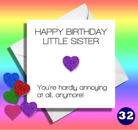 Funny Birthday Cardlittle Sisterfunny Sister Card Greetings