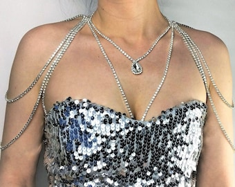 Shoulder necklace crystal top body rhinestone Queen of the party chain necklace diamond necklace wedding bridal straps crystal bolero bride