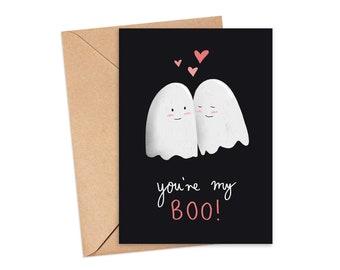 You're My Boo! Illustrated Greeting Card | Halloween Card | Boyfriend Card | Girlfriend Card | Love Card | Partner Card | A6 Card