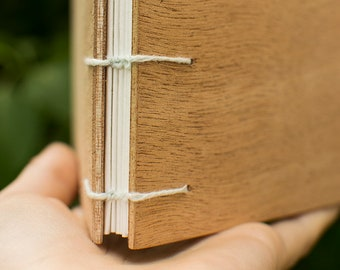 Wood - Coptic binding - square/white cover book