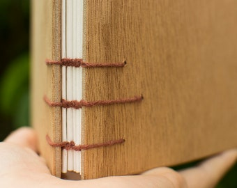 Notebook cover in wood - Coptic binding - Brown