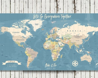 World travel map etsy personalized world travel map personalized push pin map detailed world map travel map document your travels map canvas map gumiabroncs Choice Image