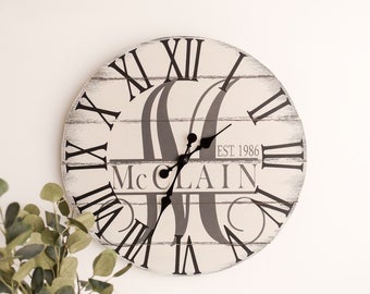 """Oversized Wall Clock, 24"""" or 35"""", Unique Wall Clock, Wedding Gift, Anniversary Gift, Personalized Clock, Monogram Clock, Silent Clock"""