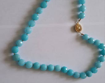 Aquamarine necklace with 14K gold filled clasp