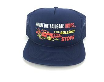 b1c506bef90 The BULLSHIT STOPS - Vintage Style Trucker Hat - Navy