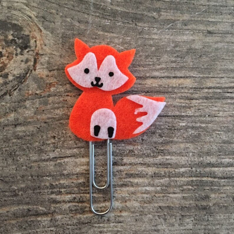 Planner Accessory stationery foxes fox Bookmark Planner Clip fox feltie paper clip animal paper clips Fox paper clip
