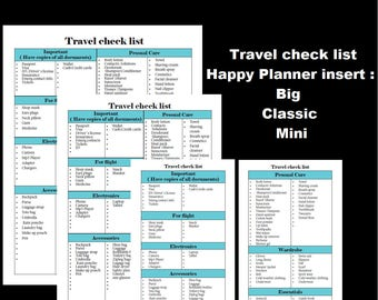 Big Happy Planner travel check list printable insert. Classic+mini inserts. Travel check list printable. Happy planner printable. Check list