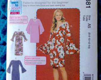 McCalls 7681, Misses Dress, Flounce Sleeve, Learn to Sew, Fitted Dress, Very Easy Women's Dress, New uncut sewing pattern