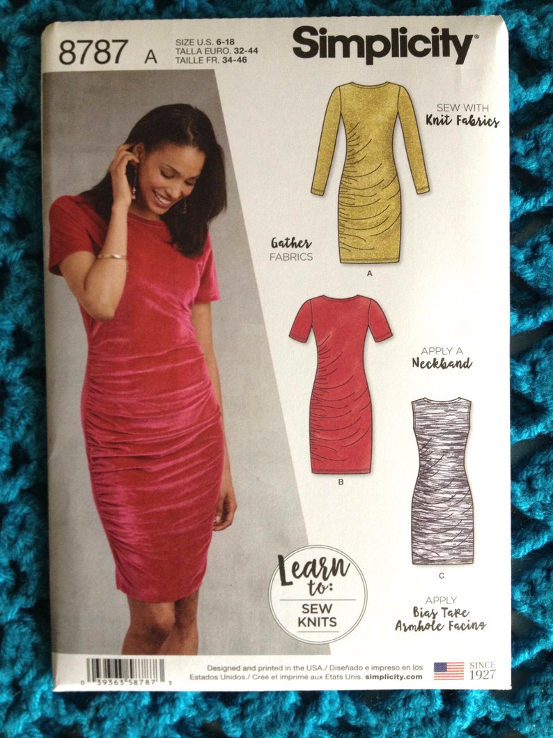 Simplicity Pattern 8734 Misses /& Plus Ruched Dress Amazing Fit Sewing Pattern