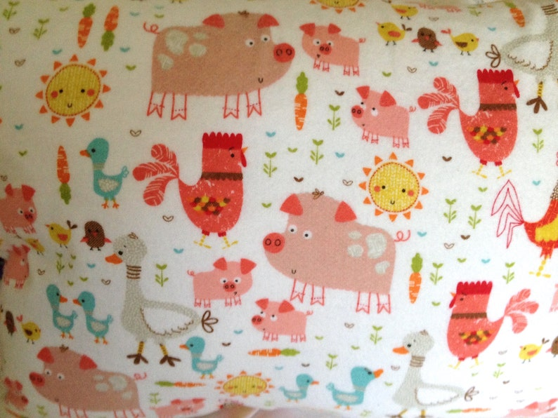 Nap Pillow Cover Flannel Pillow Cover Travel Size Cover Farm Animals Print 12x16 Case