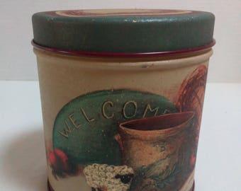 Vintage Century Resources Tin Decorative Tin Welcome Storage Tin Box Round Tin Helan Barrick Tin