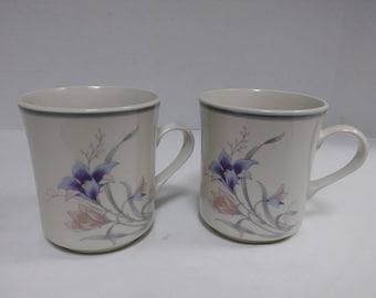 Vintage Newstone Manor Coffee Mugs 8500 / 1990s /2 coffee mug set, Orchid