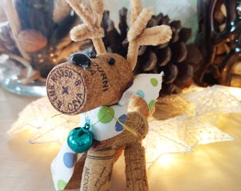 3 Champagne Deer Ornaments