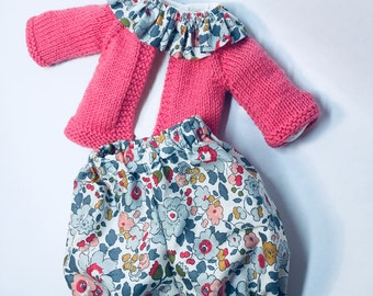 Doll Clothing Poupon 20 cm - 30cm - 34cm - 36cm - 42cm - Doll Clothes - Flying Collar Blouse - Bloomer en Liberty - Matching Jacket
