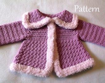 Crochet Baby PATTERN Baby Sweater Pattern Baby Girl's Sweater Sweater pattern
