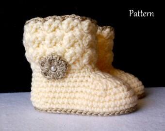 Baby Bootie PATTERN Crochet Pattern Baby Boot Crochet Pattern The Leisa Baby Bootie Pattern Crochet Pattern
