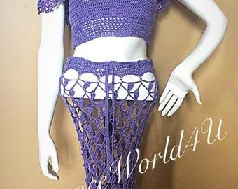 Crochet beach sckirt with matching top, Beach  akirt, beack outfit