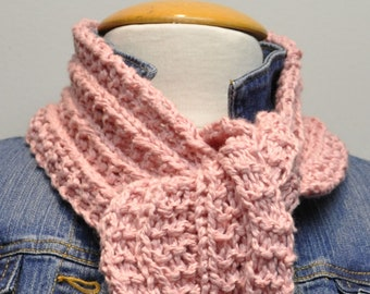 Knit Cotton Scarf in Antique Rose