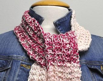 Knit Cotton Scarf in Raspberry Splash