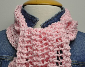 Knit Cotton Scarf in Blush