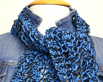Knit Cotton Scarf in Midnight