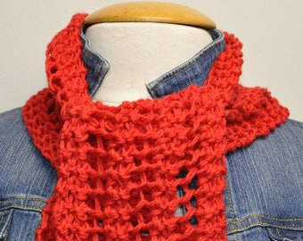 Knit Cotton Scarf in Ruby Slipper
