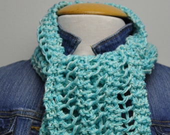 Knit Cotton Scarf in Caribbean