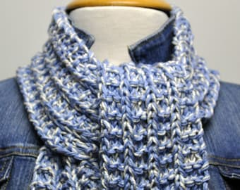 Knit Cotton Scarf in Periwinkle