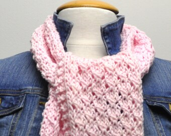 Knit Cotton Scarf in Pink Petal