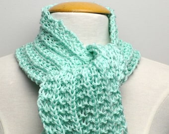 Knit Cotton Scarf in Mint