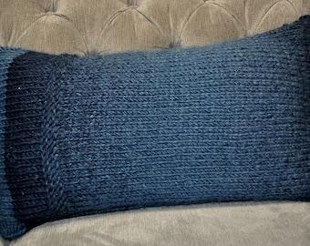 """Knit Lumbar Pillow in Navy Ombre (11""""x21"""")"""