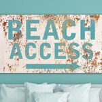 Coastal Cottage Art Beach Access Sign, Vintage Seaside Farmhouse Wall Decor, Large Minimalist Wall Art, Ocean Beach House Home Decor Print