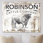 Modern Farmhouse Wall Decor, Cattle Company Last Name Family Sign, Rustic Chic Home Decor, Primitive Country Living Room Wall Art, Cow Decor