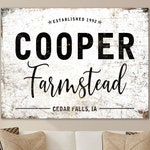 Last Name Established Sign, Modern Farmhouse Wall Decor, Home Decor Sign with Name, Vintage Farmstead Family Sign, Vintage Farmhouse Art