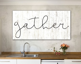 Gather Sign Dining Room Wall Art Farmhouse Kitchen Decor Style Modern