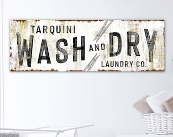 Modern Farmhouse Wall Decor Laundry Sign, Rustic Chic Wash & Dry Personalized Laundry Room Decor, Primitive Vintage Washroom Family Sign