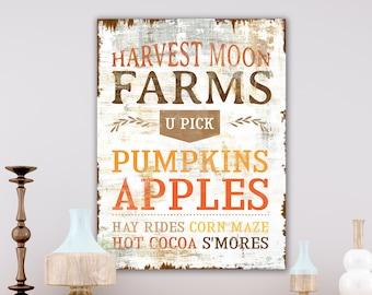 Vintage Fall Decor Rustic Harvest Fall Sign, Modern Farmhouse Wall Decor Cozy Autumn Sign, Apple Pumpkin Farm Primitive Fall Decorations