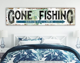 Coastal Farmhouse Wall Decor Rustic Chic Gone Fishing Sign, Industrial Modern Living Room Sign Wall Art Print, Country Cottage Home Decor