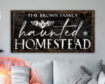 Haunted Homestead Personalized Family Last Name Sign Industrial Gothic Halloween Decor, Dark Creepy Rustic Vintage Fall Farmhouse Wall Decor