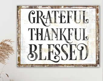 Modern Farmhouse Wall Decor Rustic Fall Sign, Primitive Country Autumn Grateful Thankful Blessed Sign Thanksgiving Decor