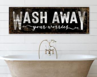 Wash Away Your Worries Modern Farmhouse Wall Decor Bathroom Sign, Shabby Cottage Rustic Chic Bath Decor, Primitive Vintage Laundry Sign