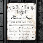 Spooky Halloween Wall Decor, Nightshade Bat Potion Shop Fall Holiday Wall Art, Rustic Fall Sign, Creepy Gothic Home Decor, Autumn Decoration