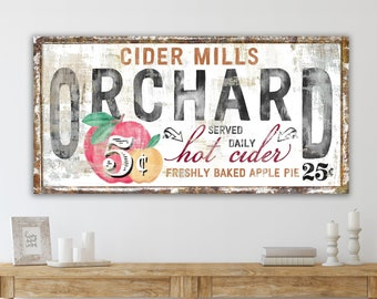 Cider Mills Apple Orchard Rustic Fall Sign Modern Farmhouse Wall Decor, Primitive Country Cozy Autumn Vintage Harvest Thanksgiving Decor