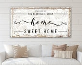 Home Sweet Home Family Name Sign Modern Vintage Decor, Large Rustic Canvas Art Print, Farmhouse Wall Decor Living Room Last Name Sign Canvas
