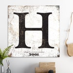Family Sign, Large Farmhouse Wall Decor, Letter Art, Established Sign, Rustic Home Decor, Typography Print, Industrial Vintage Canvas Art